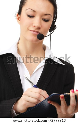 A businesswoman with a headset - stock photo