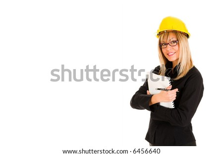 A businesswoman with documents and pencil - stock photo