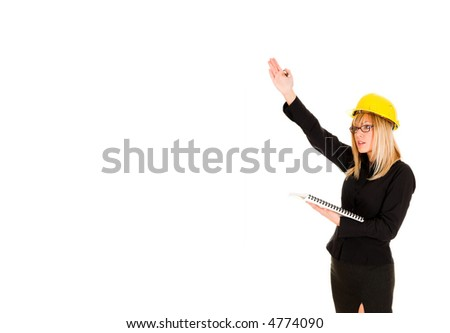 A businesswoman with documents and pencil on white background - stock photo
