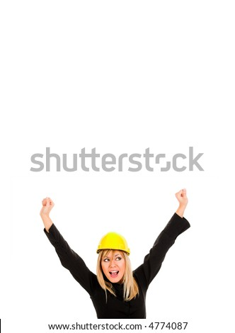 A businesswoman with happy hands raised on white background - stock photo