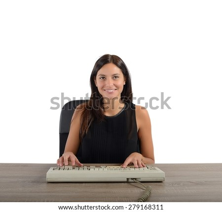 A businesswoman works and writes with keyboard - stock photo