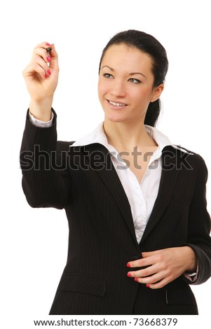 A businesswoman writing - stock photo