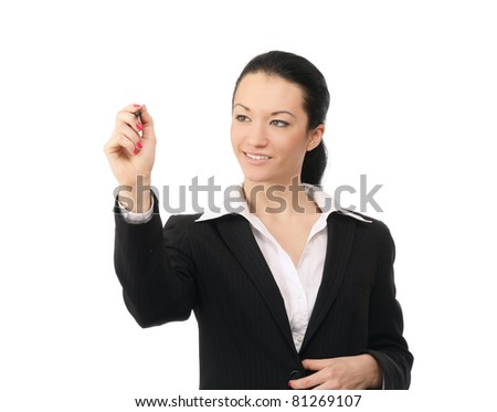 A businesswoman writing, isolated on white - stock photo