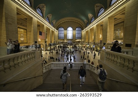 A busy day in Grand central station, New York City, Manhattan on 8 september 2014 - stock photo