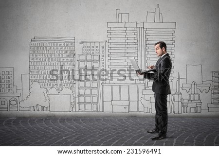 A busy man at work  - stock photo