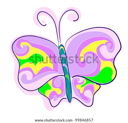 A butterfly, an imitation of children's drawings.  Raster version.