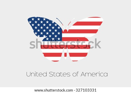 A Butterfly with the flag of United States of America