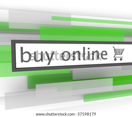 A buy online bar with shopping cart to assist you in your purchases on the internet - stock photo
