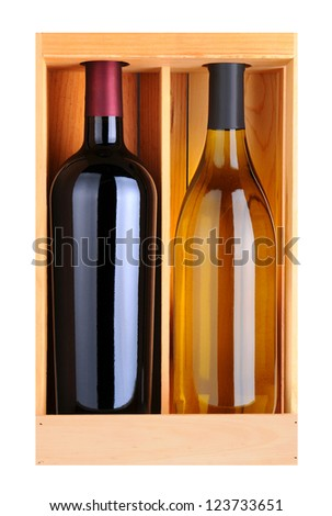 A Cabernet Sauvignoon and Chardonnay bottle without labels in a wood gift box. Vertical format isolated on white. - stock photo