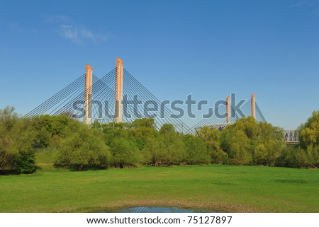 A cable bridge in Zaltbommel, the Netherlands during spring - stock photo