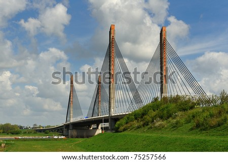 A cable bridge with the name Martinus Nijhoff in Zaltbommel, the Netherlands - stock photo