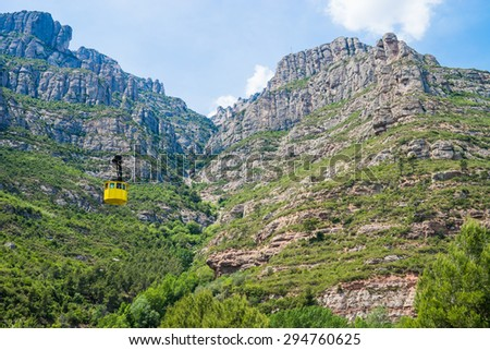 A cable car ascending the mountain at Montserrat.