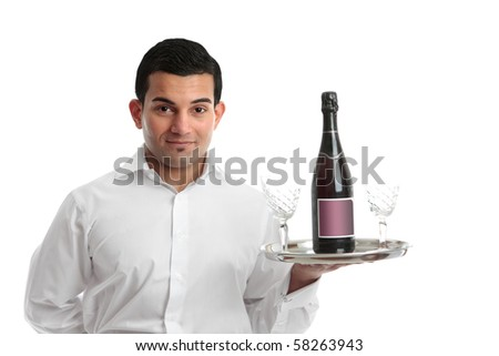 A cafe or restaurant waiter or barman carrying a tray with wine and glasses.  White background. - stock photo
