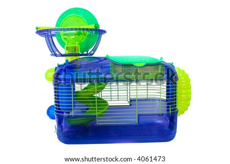 a cage for holding hampsters and other small rodents - stock photo