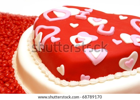 A cake in the shape of a heart for Valentines, Anniversaries, and Birthdays.