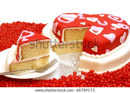 A cake in the shape of a heart for Valentines, Anniversaries, and Birthdays. - stock photo