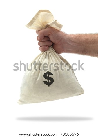 A calaco money bag isolated against a white background - stock photo