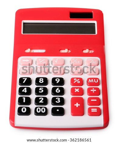 A calculator isolated on white background - stock photo