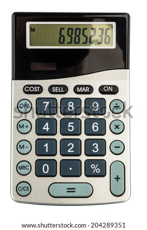 a calculator lies on a white background - stock photo