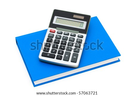 A calculator on a book isolated on white, Cost of education - stock photo