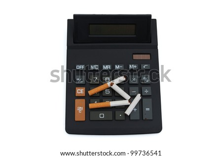 A calculator with a broken cigarettes isolated on white, Calculating the cost of smoking - stock photo