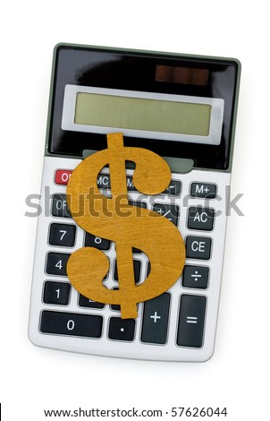 A calculator with a dollar symbol isolated on a white background, Counting your money