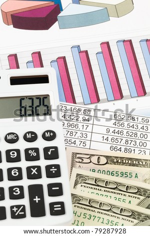 A calculator with graphics of a balance sheet. Sales, profit and operational costs. - stock photo