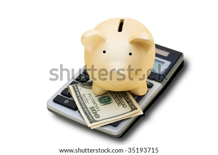 A calculator with hundred dollar bills and a piggy bank isolated on a white background with clipping path, calculating your savings - stock photo