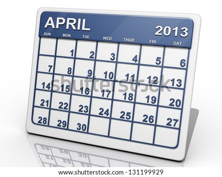A calendar of April 2013 on a shiny background. - stock photo