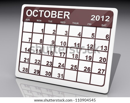A calendar of October 2012 on a shiny background. - stock photo