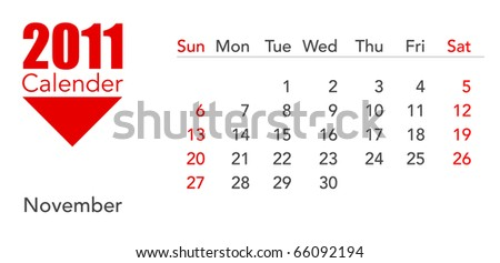 a calendar of rhe year 2011 on a white background - stock photo
