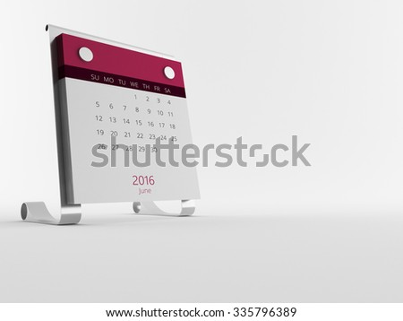 a Calendar of the year 2016 in white - stock photo