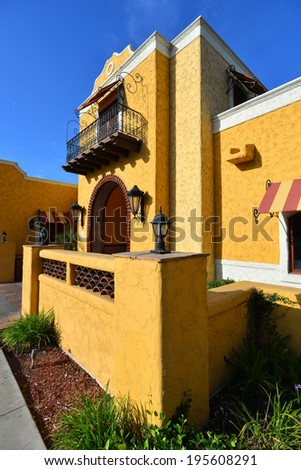 A California building shows a strong Mexican or Spanish architectural influence. - stock photo