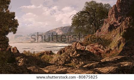 A California coastline seascape scene. - stock photo