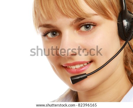 A call center employee, close-up portrait, isolated on white