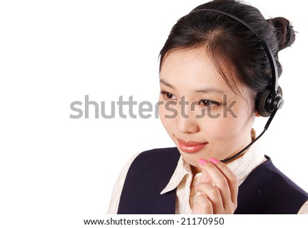 a call center operator is working, isolated on white background. - stock photo