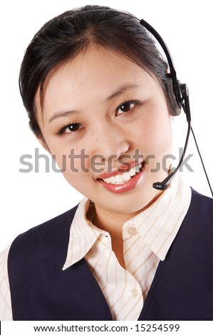 a call center operator smiling, isolated on white background. - stock photo