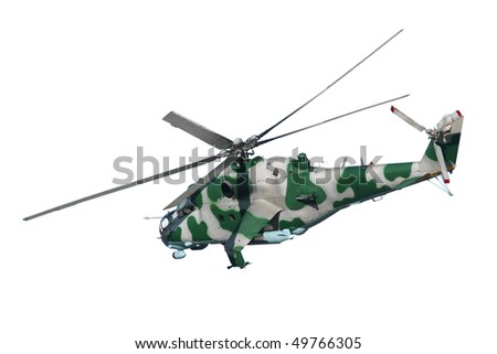 A camouflaged military helicopter in flight on white background - stock photo