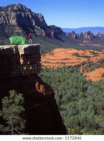A camper and tent in the Coconino National Forest near Sedona, Arizona.