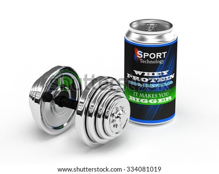 A can of Whey Protein for body building Isolate on white background - stock photo