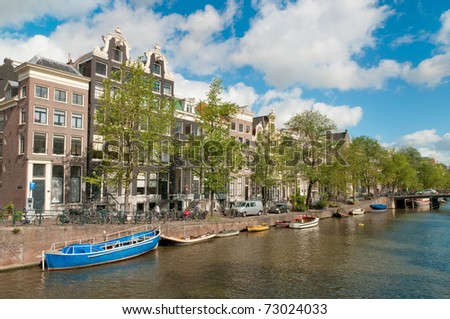 A Canal in Amsterdam, Netherlands - stock photo