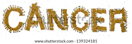 A Cancer sign made of burnt cigarette butts on a white background - stock photo