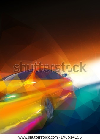 A car driving on a motorway at high speeds - stock photo