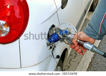 A car is supplied by gas in a distributor
