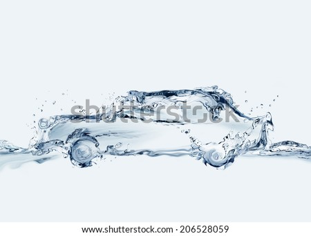 A car made of water. Can symbolize comfortable traveling, anti-pollution technologies, relaxation during traffic, etc.  - stock photo