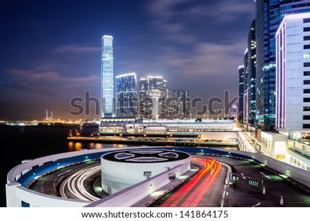 A car park entrance in hongkong - stock photo