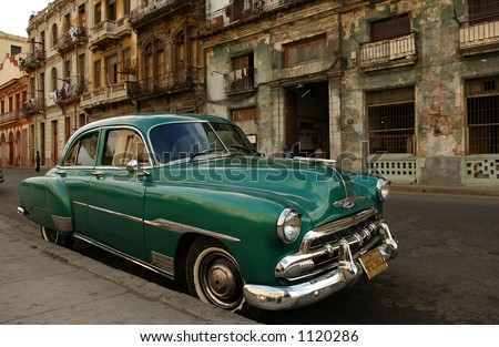 A car parked in front of a building, Havana, Cuba - stock photo