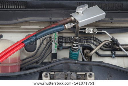 A car refuel the cheap NGV at gas station - stock photo