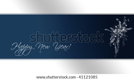 A card as template for new year's eve invitations with fireworks (text included as path) - stock photo