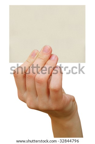 a card blank in a hand in a white backgrounds - stock photo